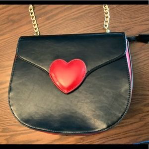 Pink Haley Black Purse with Red Heart & Gold chain